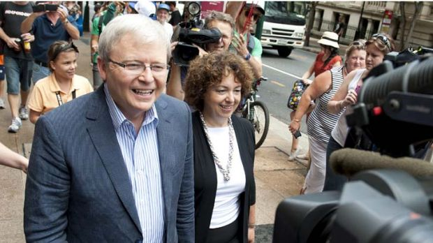 On the road again ... Kevin Rudd and wife Therese Rein on the campaign trail, this time for the PM job.