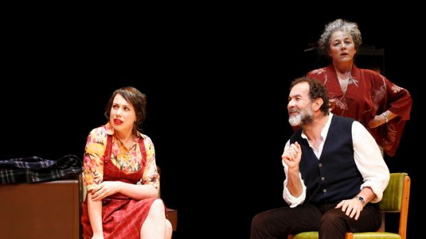 Left to right are  Alison Bell (Sylvia), Brian Lipson (Christopher) and Sarah Peirse (Beth).     Tribes  The MTC ...