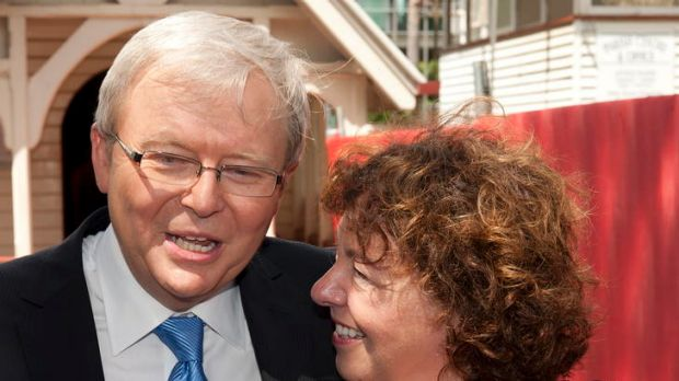 Kevin Rudd speaks to the media with his wife Therese Rein and son Nicholas outside of the Saint John the Babtist church ...