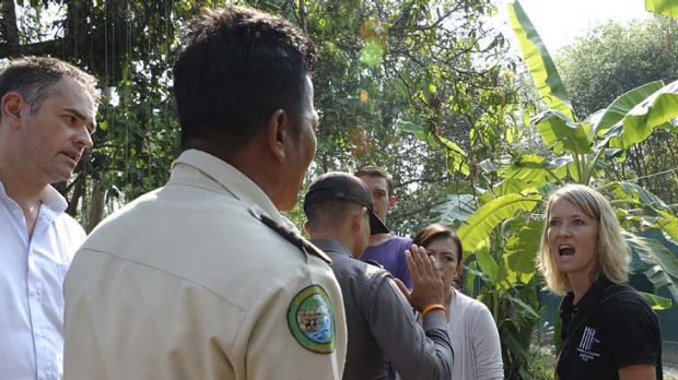 Heated stand-off... Sydney vet and the Wildlife Friends Foundation Thailand manager, Lucy Clark, confronts Thai park ...