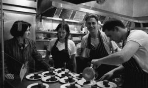 O'Donnell with Donovan Cooke, Philippa Sibley and an unnamed chef.