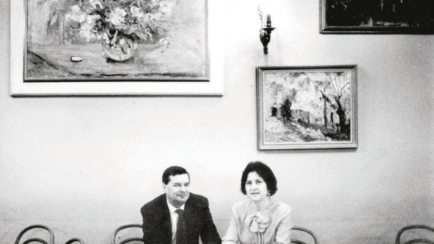 Mietta O'Donnell and Tony Knox at their Alfred Place restaurant in 1992.