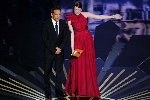 Ben Stiller and Emma Stone presenting an award.