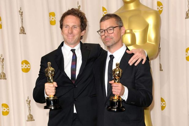 Australian Kirk Baxter (left) and Angus Wall won their gong for Best Film Editing for <i>The Girl with the Dragon Tattoo</i>.