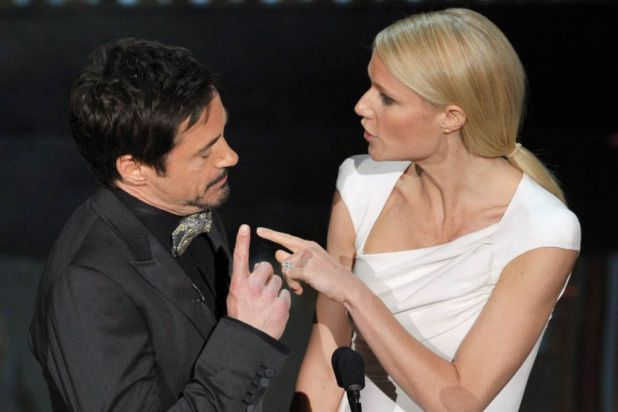 Robert Downey Jnr and Gwyneth Paltrow get pointed on stage.