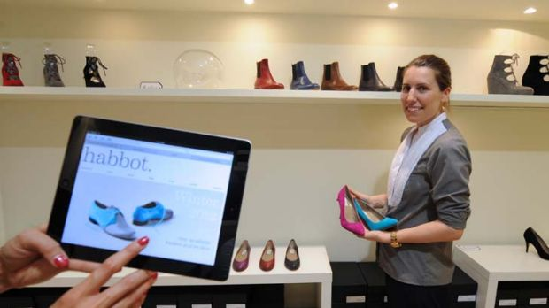Annie Abbott at her Habbot shoe store in the city. She thinks it's only a matter of time until her online sales overtake ...