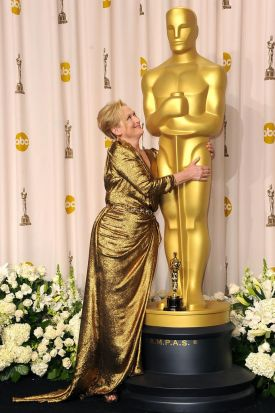 Actress Meryl Streep, winner of the Best Actress Award for 'The Iron Lady,' poses in the press room.