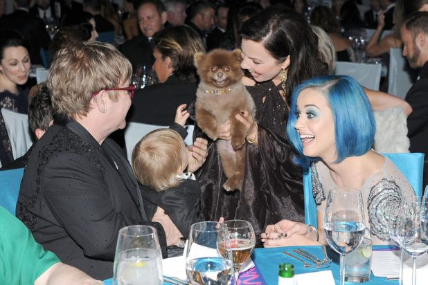 Sir Elton John, son Zachary, actress Fran Drescher, and singer Katy Perry attend the 20th Annual Elton John AIDS ...