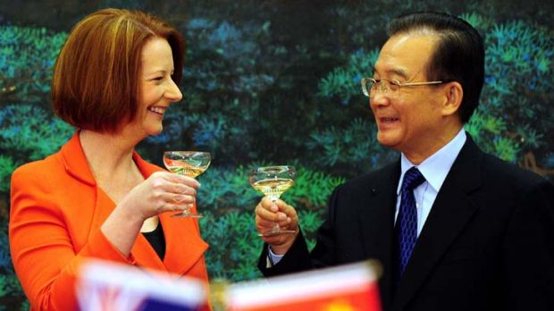In better times ... Julia Gillard with Chinese Premier Wen Jiabao.