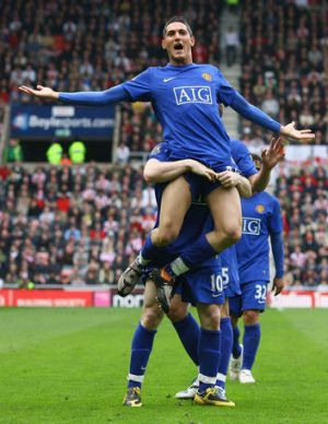 Federico Macheda celebrates a goal scored for Manchester United during the 2008/09 English Premier League season. The ...