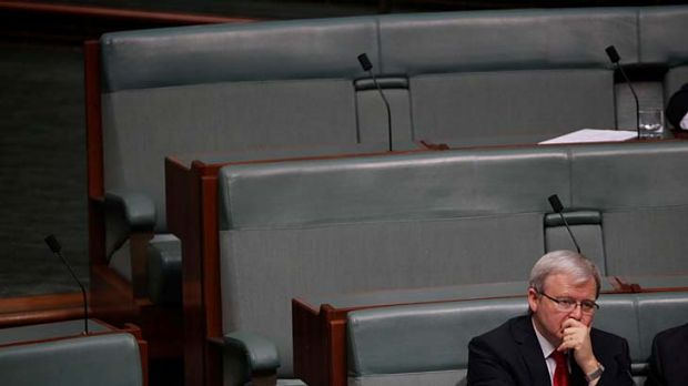 """""""He will not change"""" ...  Kevin Rudd sits on the backbench during Question Time yesterday."""