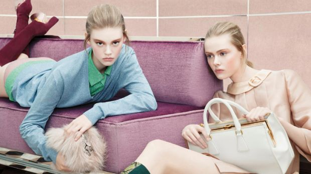 Teen scene ... Ondria Hardin, left, features in Prada's autumn/winter 2012 campaign.