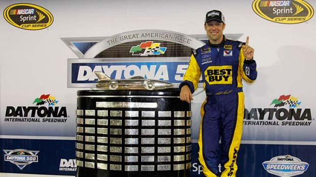 Matt Kenseth poses with the Harley J. Earl Trophy in Victory Lane after winning the NASCAR Sprint Cup Series Daytona 500.
