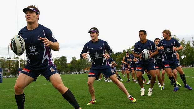 Melbourne Storm players train at Gosch's Paddock yesterday.