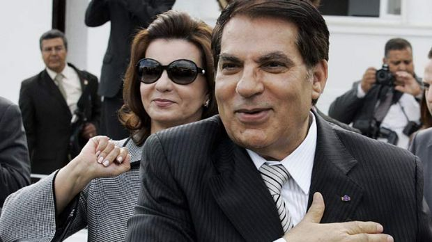 Right behind her man... Leila Trabelsi, the wife of Tunisia's Zine El-Abidine Ben Ali, inspired dread at home.