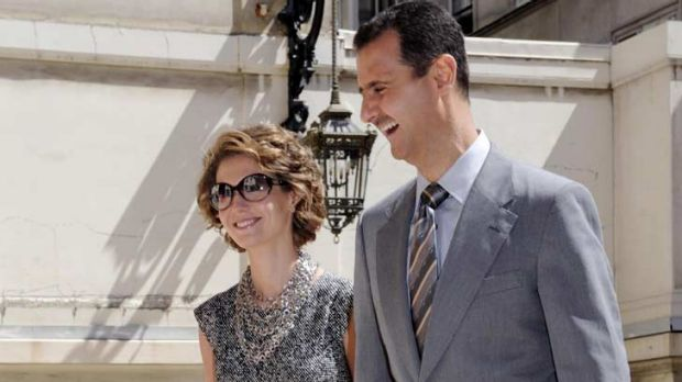 Entertained 'Brangelina' ... Asma al-Assad has been feted in the west for her fashion sense.