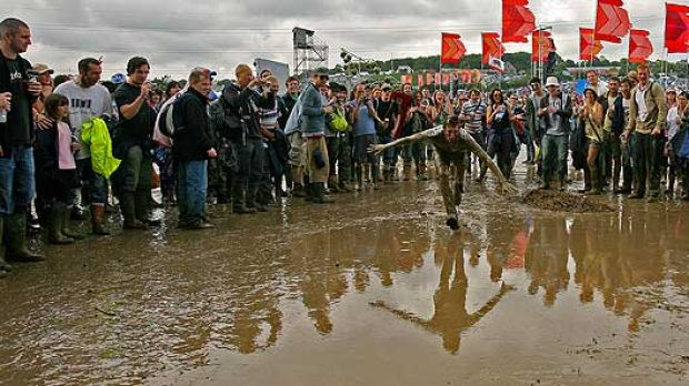Flashback ... to fun in the mud at the Glastonbury festival in 2007.