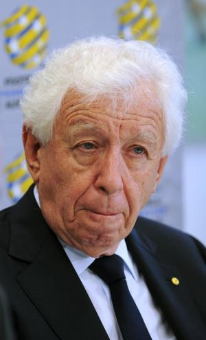 The Football Federation Australia chairman, Frank Lowy, announces the termination of the Gold Coast's A-League  licence ...