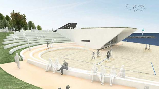 The amphitheatre, from the plaza to the beach, is an event space that is sheltered from the south-westerly winds.