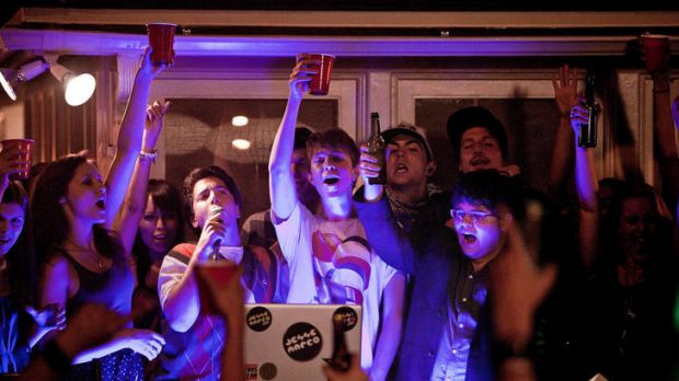 A celebration to aspire to ... Oliver Cooper (with microphone), Thomas Mann and Jonathan Daniel Brown in <i>Project X</i>.
