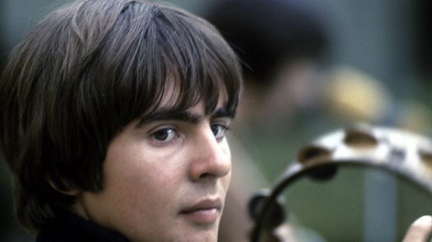 Daydream believer ... Davy Jones plays the tambourine during filming of The Monkees TV show.