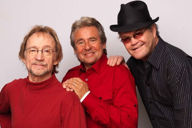 Peter Tork, Davy Jones and Micky Dolenz of The Monkees pose during portrait session in 2011 to announce the band's 45th ...