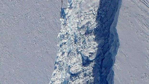 A section of the massive crack in an Antarctic glacier - which measures 250m at its widest point - that has been mapped ...
