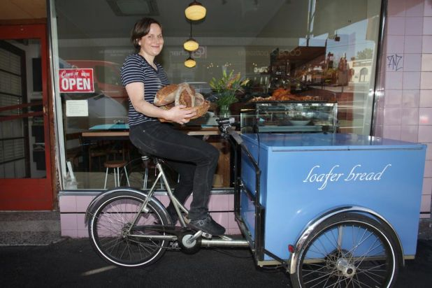 Andrea Brabazon, owner of Loafer Bread in Fitzroy North. Loafer employs two part-time delivery cyclists to make all the ...