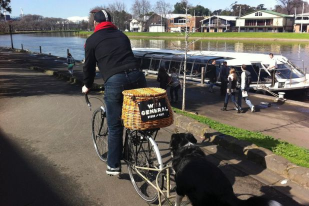 Pip Hayes from the Wye River General Store, delivers his artisan loaves to a few select customers when in Melbourne. Dog ...