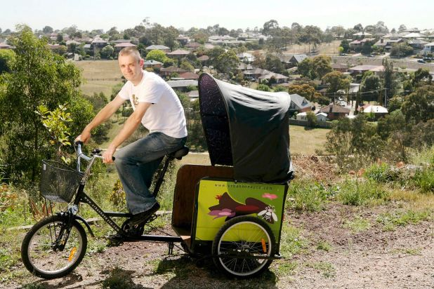 Urban honey-maker Lyndon Fenlon only uses bikes to transport his honey and equipment across Melbourne.