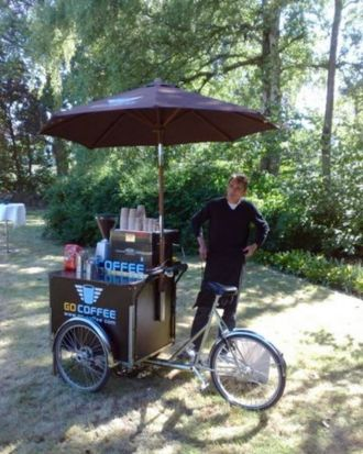 "Danish company Go Coffee has five ""coffee bikes"", six mopeds and 11 mobile coffee bars. Baristas even pedal their ..."