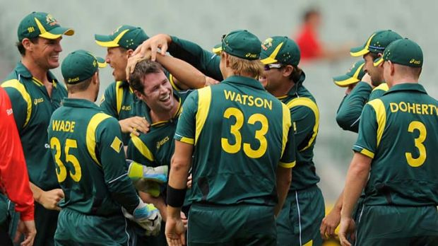 Triple treat: Dan Christian is congratulated after his hat-trick against Sri Lanka.