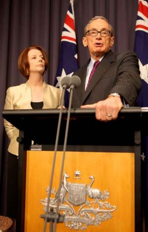American dream … the newly appointed Foreign Affairs Minister and former NSW premier, Bob Carr, with the Prime ...