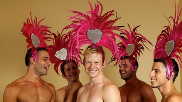 Stars of the Mardi Gras … Roberto Panico, left, Ben Meli, Ricky van Vliet, Arnaud Gaston and Andrei Boyd prepare ...