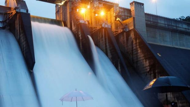 Going with the flow … Warragamba Dam spills over for the first time in 14 years, providing quite a spectacle for a small ...