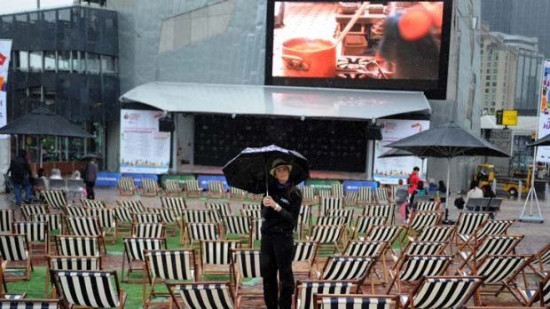 Fed Square is conspicuously empty yesterday.
