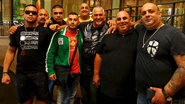 """""""Squeaky clean""""... Mick Gatto, centre with beard, and friends at the Sheraton on the Park."""