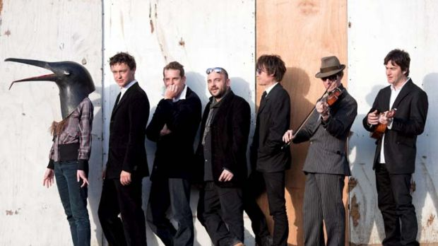 Happy feet ... Arthur Jeffes, second left, with some members of his Penguin Cafe Orchestra, felt it was time to explore ...