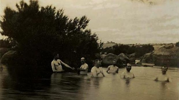 Senators bathing in the Snowy River at Dalgety, 1902. Photo by E.T Luke.