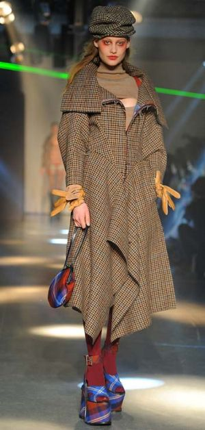 Check in … a model for Vivienne Westwood wears clothes made from Australian wool at Paris Fashion Week.
