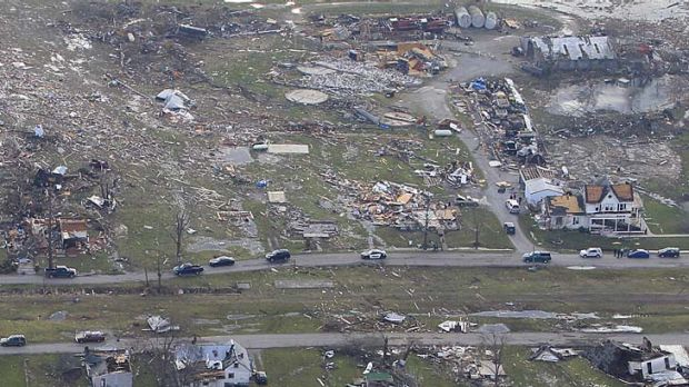 Trail of destruction ... debris is strewn across Marysville, Indiana.