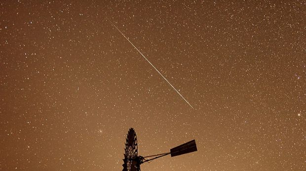 Down in the last shower ... Cameras captured this meteor burning up in ther skies over the Newcastle Waters Station in ...