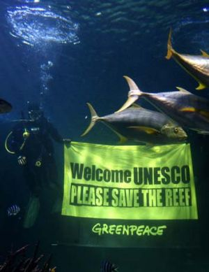 Speaking out ... Sydney Aquarium teams up with Greenpeace to ask UNESCO to save the Great Barrier Reef.