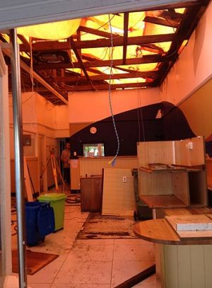 Damage inside Hinter Noosa Real Estate.