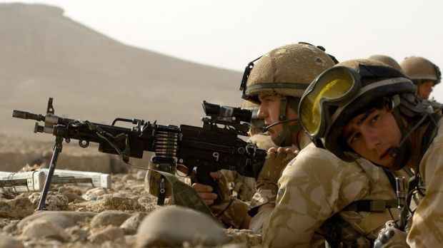 British soldiers in an operation to secure the village of Musakala in Helmand province.