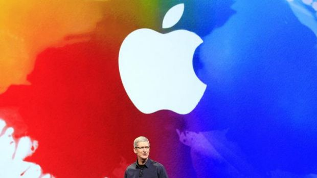 Apple CEO Tim Cook speaks during an event in San Francisco today.