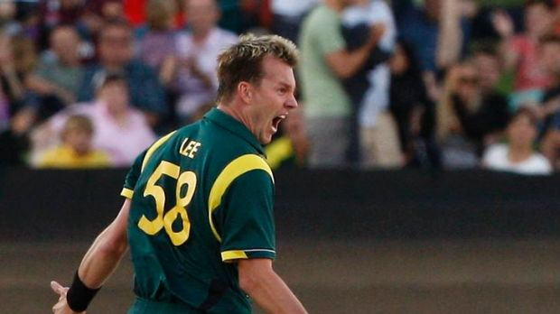 Australia's Brett Lee celebrates taking the wicket of Sri Lanka's Kumar Sangakkara in the third match of their ...