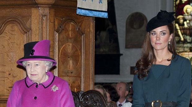 Side by side...  the Queen and Catherine, Duchess of Cambridge.