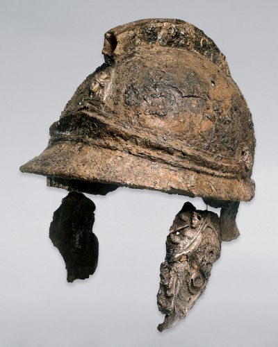 ''Iron helmet with silver decorations''; Greece, Melos (?), mid to late 4th century BC; iron, silver, gold, wood, ...