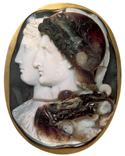''The Gonzaga Cameo portrait of Ptolemy II Philadelphus and Arsinoe II''; Alexandria, 3rd century BCE; Triple-layered ...